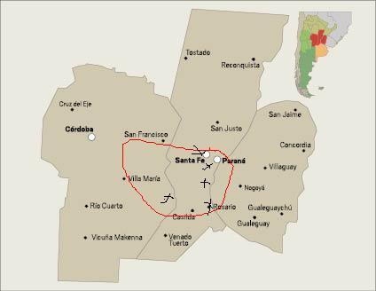 Región Centro Argentina. En círculo rojo y cruces negras, mi mediocre manera de mostrar donde se dieron los combates